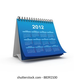 Desktop calendar for 2012 year isolated on white background