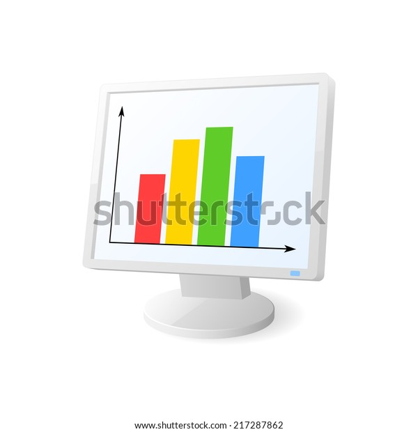 desktop computer with diagram on screen  2d illustration