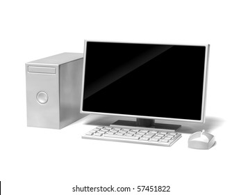 desktop computer icon on white background
