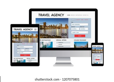 Desktop computer, tablet and smartphone isolated on white with travel agency concept on screen. Digital generated devices.