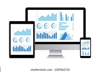 Desktop computer, tablet and smartphone isolated on white with graphs and charts elements on screen. Digital generated devices.