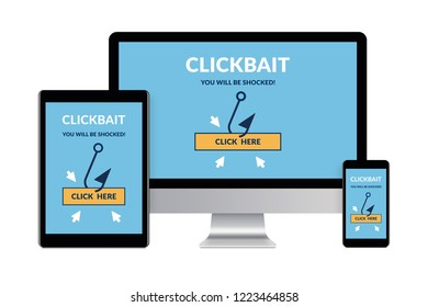 Desktop computer, tablet and smartphone isolated on white with clickbait concept on screen. Digital generated devices.