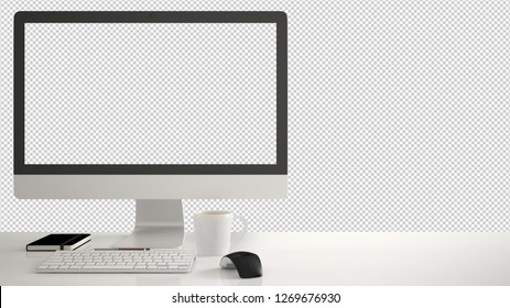 Desktop mockup, template, computer on work desk with editable screen, keyboard mouse and notepad with pens and pencils, isolated on transparent background, 3d illustration