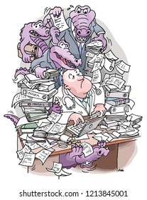 Desperate doctor sits at desk and is overwhelmed and threatened by bureaucratic purple crocodiles with documents and protocols