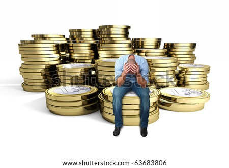 desperate man on euro 3d coin background