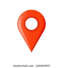 Destination place pin. Red place pointer. Map position mark