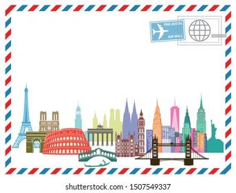 Destinations on airmail letter. illustration