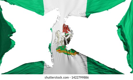 Destroyed Abuja, capital of Nigeria flag, white background, 3d rendering