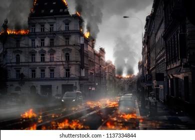 Destroyed city concept. Digital illustration