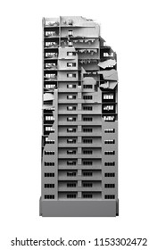 destroyed multi-storey building isolated on white. 3d rendering