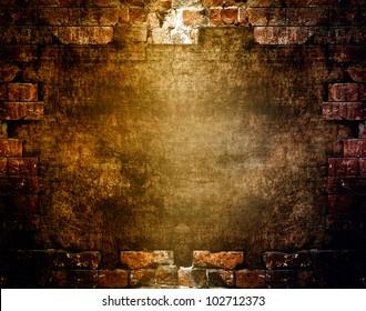 Destroyed wall, dark grunge background