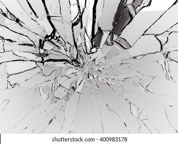 Destructed or Shattered black glass isolated over black