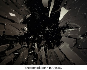 Destructed or shattered glass isolated over black background