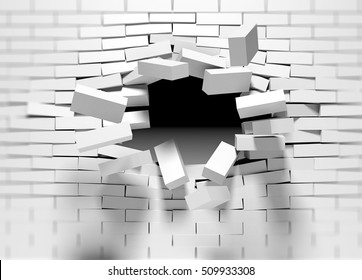 Destruction of a Brick Wall. 3D Breaking Brick Wall. Wall Being Smashed or Breaking Apart. Destruction Abstract Background.