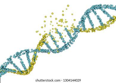 Destruction of DNA, damaged DNA, 3D illustration. Concept of disease, genetic disorder, genetic engineering
