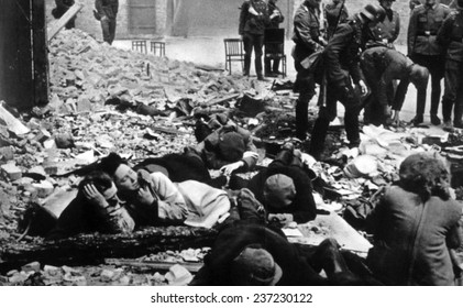The destruction of the Warsaw ghetto by the German Army, 1943.
