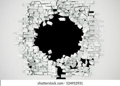 Destruction of a white brick wall for pasting anything text. 3d illustration