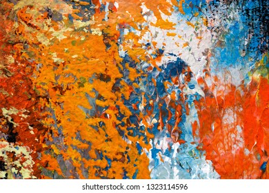 detail of abstract impressionist artwork - colorful background of brush strokes of oil painting on canvas