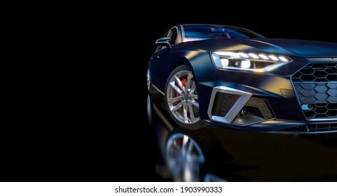 detail of a blue sports car on black. 3d render.