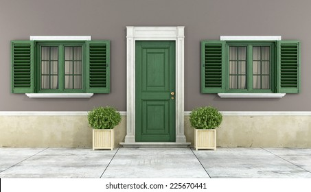 Detail of a classic house with green wooden windows and front door - 3D Rendering