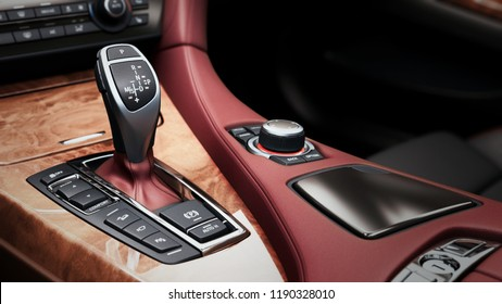 Detail of modern car interior gear stick automatic transmission in expensive car 3d render image