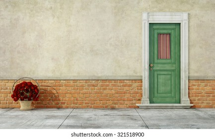 Detail of an old house with brick wall and  wooden window - 3D rendering