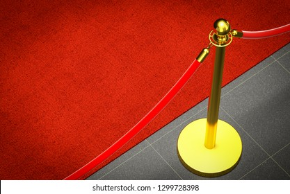 detail of red carpet and barrier 3d rendering image