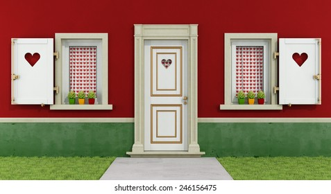 Detail of a romantic house with windows and front door decorated with hearts - 3D Rendering