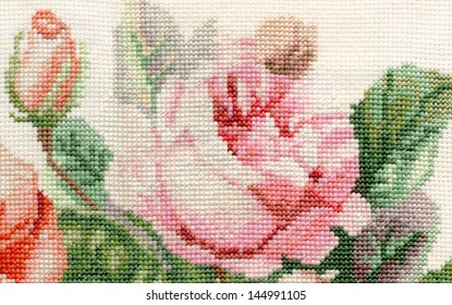 detail rose embroidery