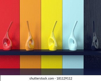 Detail shot of modern coloured wall, vases on shelf.