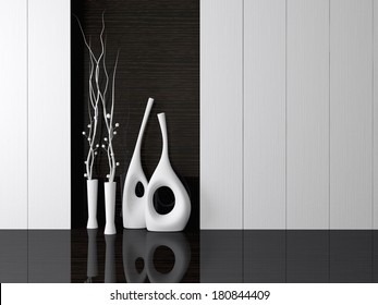 Detail shot of modern living room wall. Luxurious vases in the room.