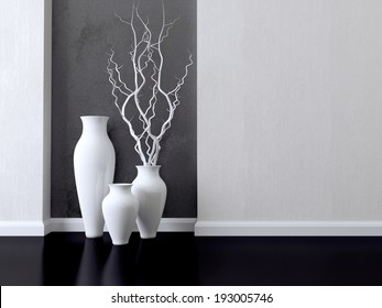 Detail shot of modern living room wall. Luxury monochrome interior design.