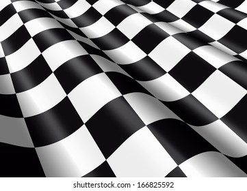 Detail of a waving checkered flag.