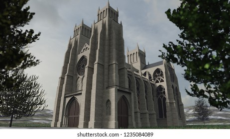 Detailed 3D rendering of an ancient cathedral