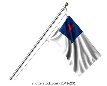 Detailed 3d rendering of the Christian flag hanging on a flag pole isolated on a white background.  Flag has a fabric texture