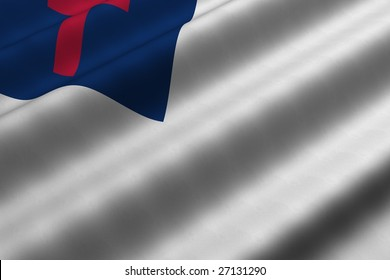 Detailed 3d rendering closeup of the Christian flag.  Flag has a detailed realistic fabric texture.