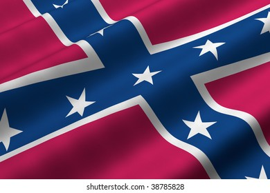 Detailed 3d rendering closeup of the Confederate flag.  Flag has a detailed realistic fabric texture.