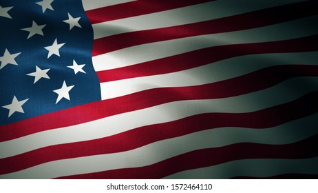 Detailed 3d rendering closeup of the flag of the United States of America. Flag has a detailed realistic fabric texture.