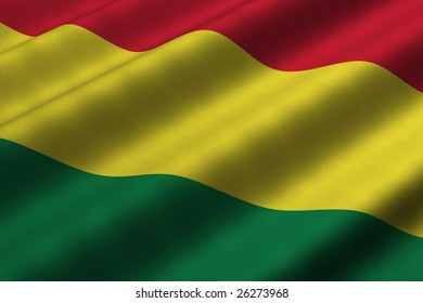 Detailed 3d rendering closeup of the flag of Bolivia.  Flag has a detailed realistic fabric texture.