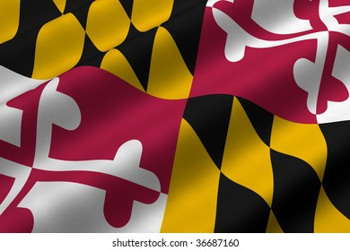 Detailed 3d rendering closeup of the flag of the US State of Maryland.  Flag has a detailed realistic fabric texture.