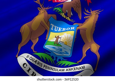 Detailed 3d rendering closeup of the flag of the US State of Michigan.  Flag has a detailed realistic fabric texture.