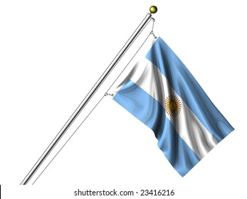 Detailed 3d rendering of the flag of Argentina hanging on a flag pole isolated on a white background.  Flag has a fabric texture
