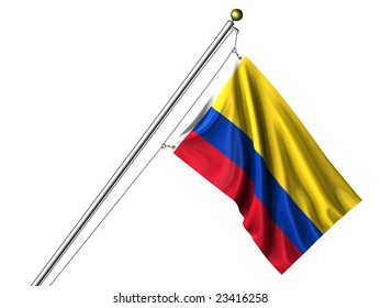 Detailed 3d rendering of the flag of Colombia hanging on a flag pole isolated on a white background.  Flag has a fabric texture