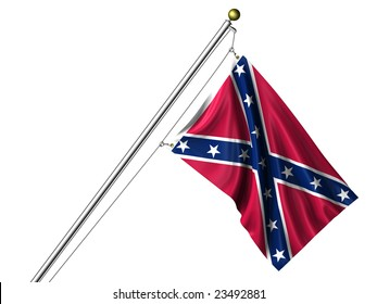Detailed 3d rendering of the flag of the Confederacy hanging on a flag pole isolated on a white background.  Flag has a fabric texture and a clipping path is included.