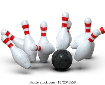 Detailed action shot of bowling ball hitting all pins, scoring a strike. Pins in motion on white background. Representing success, competition, hit target, perfection. 3D rendering