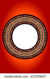 Detailed Arabian Sadu Weaving Vintage Circular Frame