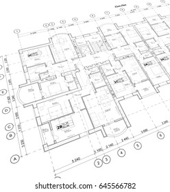 Detailed architectural plan, floor plan, layout, perspective view