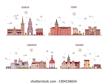 Detailed architecture of Dublin, Cork, Limerick, Galway. Business cities in Ireland. Trendy illustration, line art style.Handdrawn illustration with main tourist attractions.