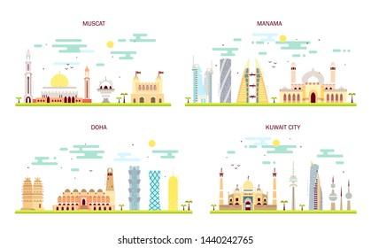 Detailed architecture of Muscat, Manama, Doha, Kuwait City. Business cities in Kuwait, Oman, Qatar, Bahrain. Trendy illustration, flat art style. Illustration with main tourist attraction.