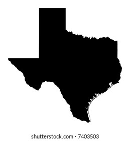 Detailed b/w map of Texas, USA. Mercator projection.